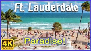 【4K】WALK Fort Lauderdale Beach Florida USA 4k slow TV Travel vlog