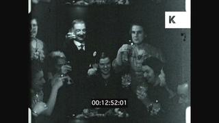 1930s UK, People Drinking, Celebration, Toasting, 16mm