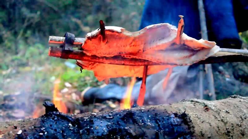 Дикая кухня Жаренная щука на огне в расщепе